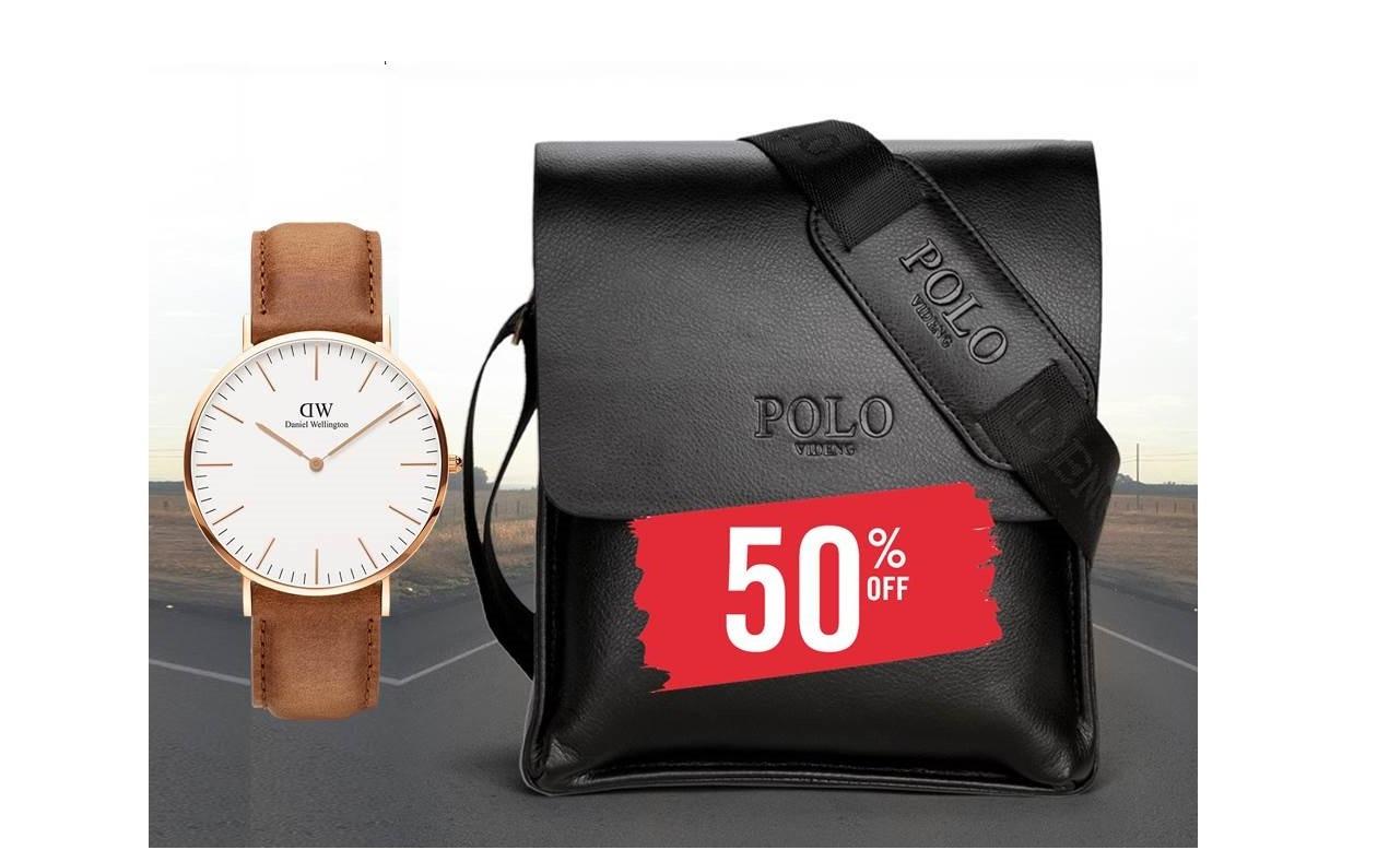 f1802c679042 АКЦИЯ!!! Мужская сумка Polo Videng. Большой размер+часы в Подарок ...