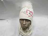 Красивый комплект шапка с помпоном со снудом на завязку для девочки Белый