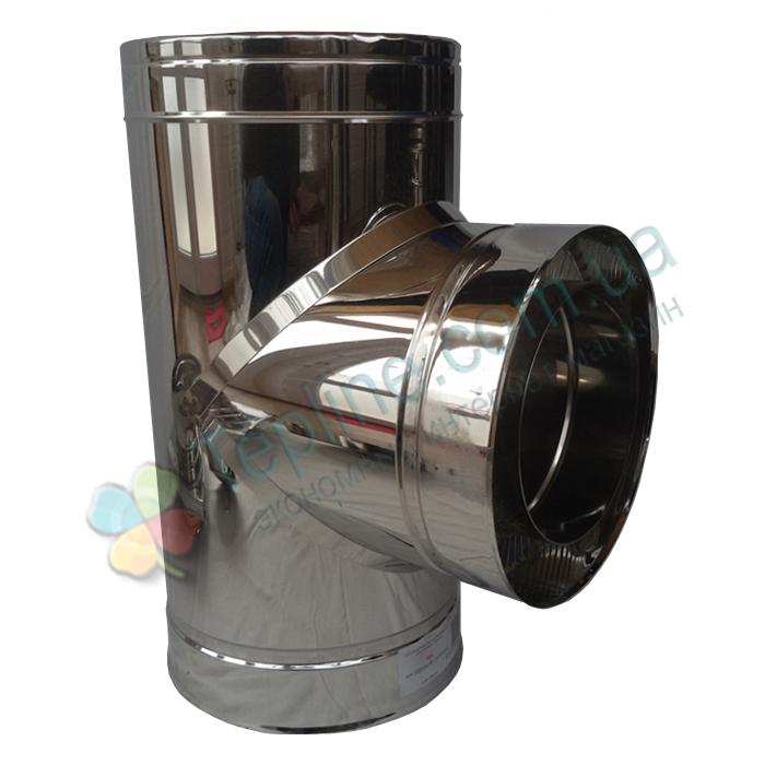 Тройник-сэндвич 87° для дымохода d 110 мм; 1 мм; AISI 304; нержавейка/нержавейка - «Версия Люкс»