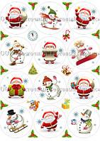 Печать съедобного фото для капкейков - Ø7 см - Сахарная бумага - Новогоднее ассорти №1