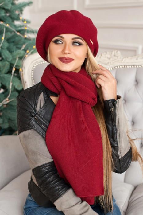 Зимний женский комплект «Вива» (берет и шарф) Бордовый