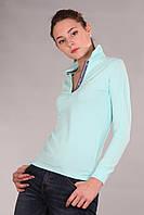 Красивая женская футболка поло с длинным рукавом с воротником Th 85 бирюзового цвета