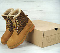 Зимние ботинки Timberland леопардовые с натуральным мехом (тимберленд)