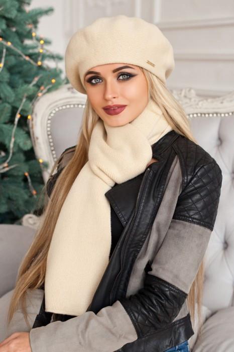 Зимний женский комплект «Вива» (берет и шарф) Песочный
