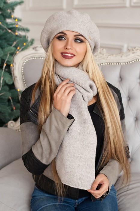 Зимний женский комплект «Вива» (берет и шарф) Светлый кофе