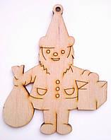 """Деревянные елочные игрушки новогодние сувениры """"Санта с подарками"""""""