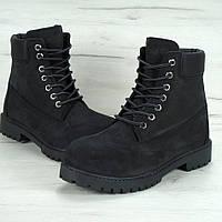 Зимние женские ботинки Timberland 6 inch black с натуральным мехом (Реплика ААА+)