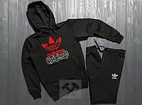 Спортивный чёрный костюм Adidas с капюшоном