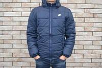 Куртка зимняя мужская с капюшоном темно-синяя (Реплика ААА+)