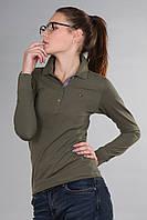 Зеленая красивая женская футболка поло с длинным рукавом с воротником Th 85