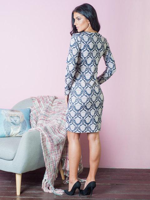 0347daf0077 ... Стильное женское платье с принтом вензелями синего цвета 44-50 размеры