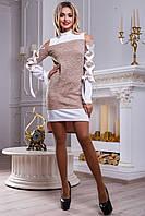 Ошатне плаття-туніка з напіввідкритими плечима і атласними стрічками 42-48 розміру, фото 1