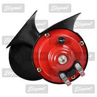 Сигнал звуковой 12v улитка 2 контура красно- черный Elegant 100720