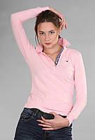 Удобная женская футболка поло с длинным рукавом с воротником Th 85 розового цвета