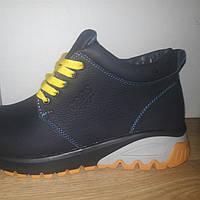 Мужские кожаные ботинки 277 GRAS синего цвета