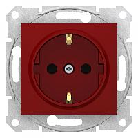 Розетка с заземлением и защитными шторками SEDNA красная SDN3000341 Schneider Electric