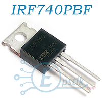 IRF740PBF, MOSFET транзистор, N-канал, 400В 10А, TO-220