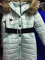 Baby Angel пальто зимнее, самый модный цвет- мята р 122-152