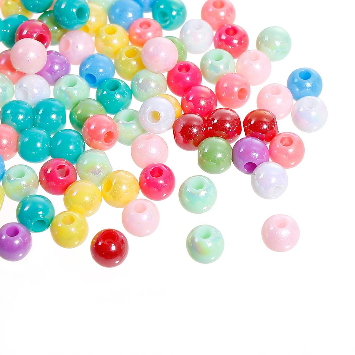 Бусина Круглая, Акриловая, Яркие цвета с перламутровым переливом, 6 мм, Отверстие: 1.5 мм, Цвет: Микс, 10 шт.