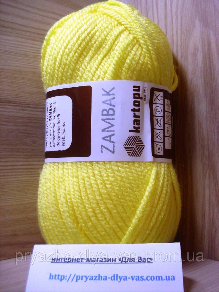 Акриловая пряжа (100%- акрил, 100 г/133 м) Kartopu Zambak K330 (жёлтый)