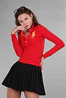 Оригинальная женская футболка поло с длинным рукавом мужс. застежка (реплика) Polo ralph lauren красного цвета