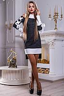 Нарядное платье-туника с полуоткрытыми плечами и атласными лентами 42-48 размера