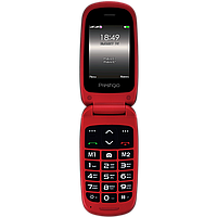Телефон кнопочный раскладушка на 2 сим карты Prestigio Grace B1 красный