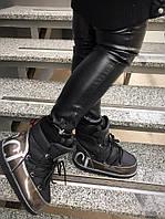 Зимние кожаные луноходы Гуччи черные+сталь