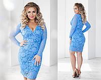 Платье женское 48+ из гипюра с подкладкой, 7 цветов арт 2695-93