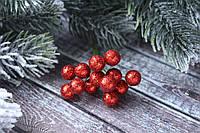 Блискучі ягоди 96 шт/уп. 1 см діаметр, червоного кольору оптом НГ, фото 1