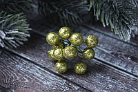 """Блестящие ягоды 96 шт/уп. 1 см диаметр, цвета """"оливка"""" оптом НГ"""
