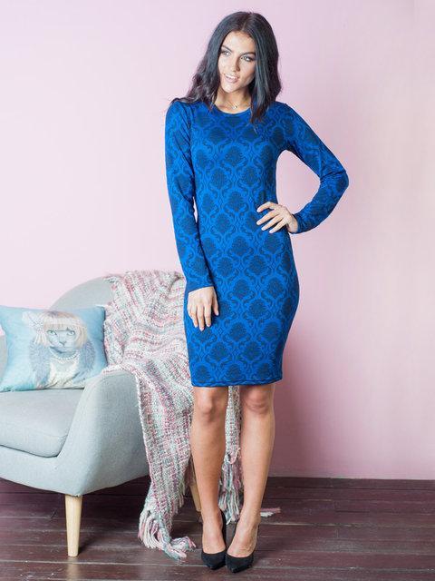 ba245e2f51d Стильное женское платье с принтом вензелями синего цвета 44-50 размеры