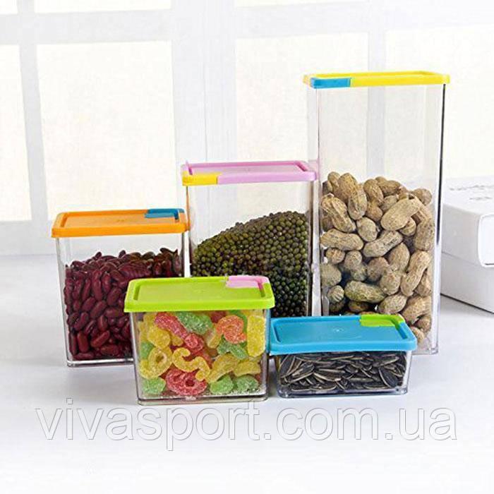 Набор прозрачных контейнеров для сыпучих продуктов 6 штук, органайзер для продуктов