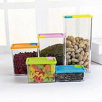 Набор прозрачных контейнеров для сыпучих продуктов 6 штук, органайзер для продуктов, фото 1