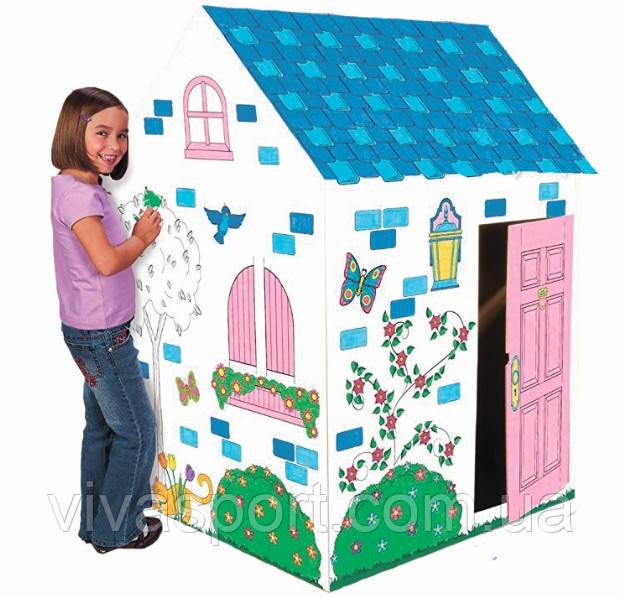 Картонный складной домик-раскраска, раскраска и домик для ребенка