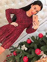 Красивое элегантное кружевное платье только бордо