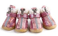 Ботинки для собак с мехом- Розовые, фото 1
