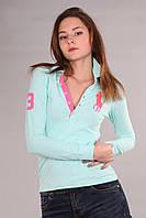 Хлопковая женская футболка поло с длинным рукавом мужская застежка (реплика) Polo ralph lauren бирюзового цвет