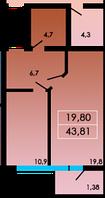 1 комнатная квартира 43,81 метра ЖК «ЛесSky», село Лески, фото 1