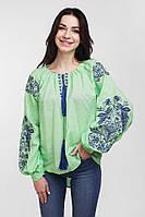 Молодежная женская вышиванка с великолепной вышивкой на рукавах салатового цвета
