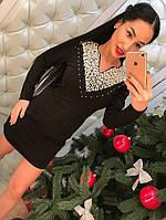 Стильное короткое черное платье с жемчугом