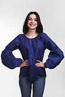 Женская вышиванка асимметричного кроя с этническим узором темно-синего цвета