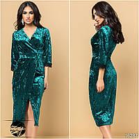 Вечернее бархатное платье изумрудного цвета длиной миди. Модель 16287