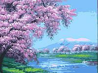 Картина раскраска по номерам без коробки В розовых лепестках 40 х 50 см