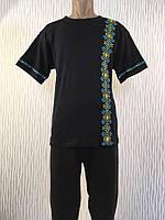 Черная мужская футболка вышиванка 640 Гербы, интерлок, р.р. 48-62