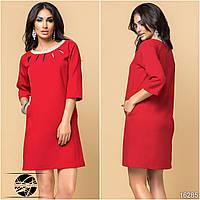 Женское коктейльное платье красного цвета с рукавом три четверти. Модель 16285