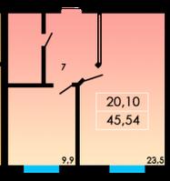 1 комнатная квартира 45,54 метра ЖК «ЛесSky», село Лески