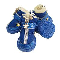 Ботинки для собак с мехом-Звезда-Синие, фото 1