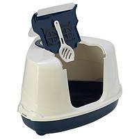 Moderna МОДЕРНА ФЛИП КЭТ УГЛОВОЙ закрытый туалет для кошек , 56Х45Х39 см см., светло-серый см.