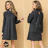 Женское платье с люрексом черного цвета. Модель 16288